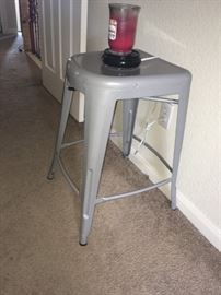 silver metal stool