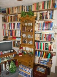 Books and nice vintage drop front desk with case