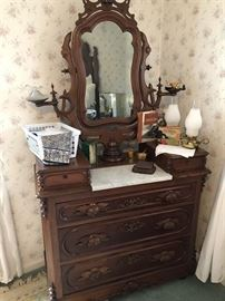 Walnut Dresser w/ Marble insert and side arms for oil lamps...Beautiful piece!