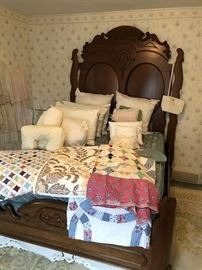 Gorgeous Matching Walnut Bed, antique and modern made quilts....Lots of quilts at this sale !