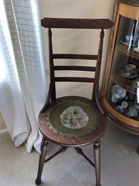 Adorable Antique Ladies Chair w/painted Leather Seat