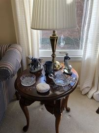 Queen Anne Traditional End Tables, Brass Lamps, Lladro, Pressed and cut glass, even some Foxglove Pattern Pottery!