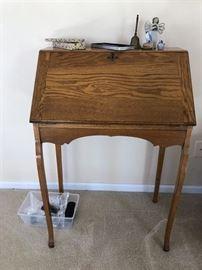 Antique Oak Small Drop Front Secretary