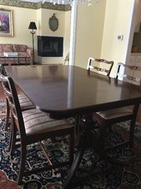 Duncan Phfye dining table and 6 chairs