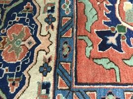Up close view of dining room rug