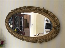 Antique oval gold mirror