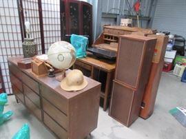 Vintage Triple Dresser, Speakers, Oriental Screens / Room Dividers