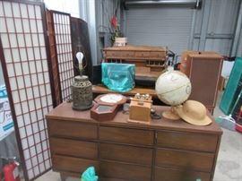 Lamps, Globe, Wall Clock, Vintage Wall Phone Replica