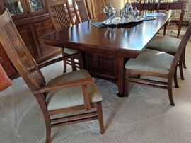 """$2,600  Bob Timberlake Table and Chairs with self storing leaf, and 2 15"""" leaves"""