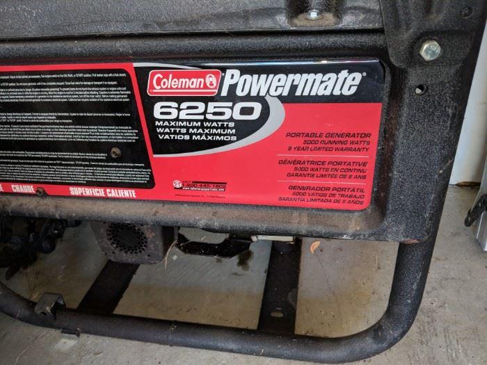 $450   Coleman Powermate 6250 Generator