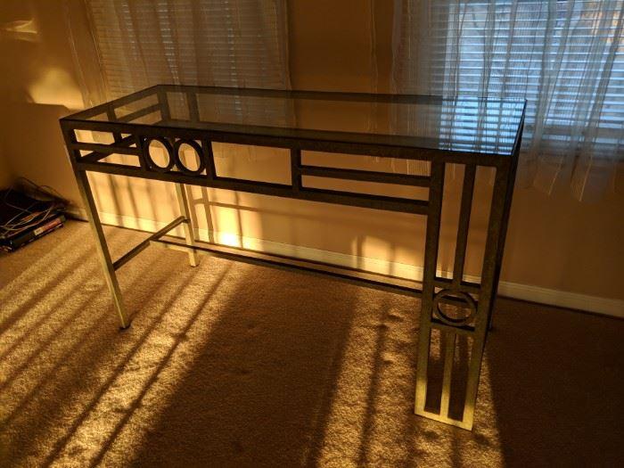 $75  Glass top sofa table