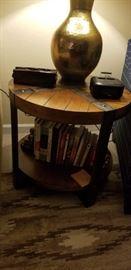 Sierra Metal & Wood Round End Table in Landmark Worn Oak