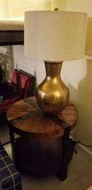 Brass Hammered Lamp & Sierra Metal & Wood Round End Table in Landmark Worn Oak