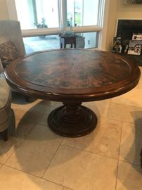 Century Copper Top Round Pedestal Table