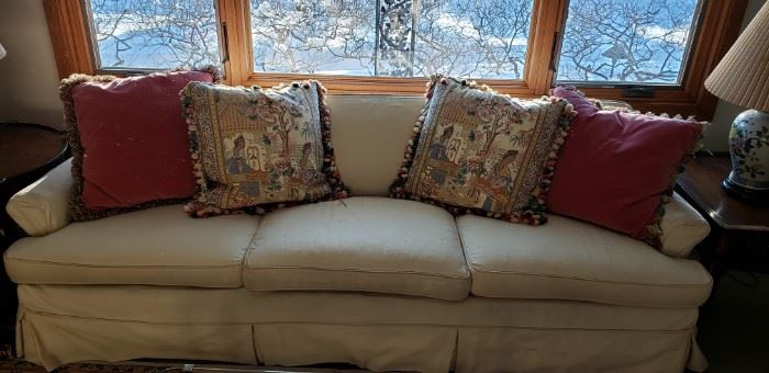 Couch with beautiful throw pillows