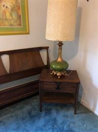 MCM nightstand & Genie bottle lamp