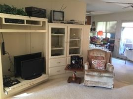 We have two flat screen TV's and a turn table, receivers and another portable TV.