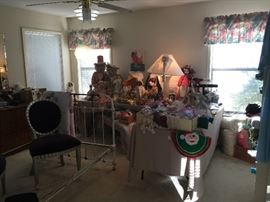 This is the Master Bedroom and is were you will find the Dolls and Teddy Bears and a wonderful Iron Bed