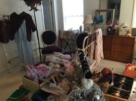 Lots of Christmas decorations, costume jewelry and watches
