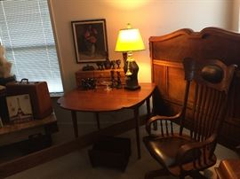 Drop leaf table, rocking chair, lamps, ruby glass and milk glassg
