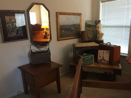 Oak side tables, trunks, a great coffee table with metal wheels, railroad style piece! Prints, mirrors, suitcases