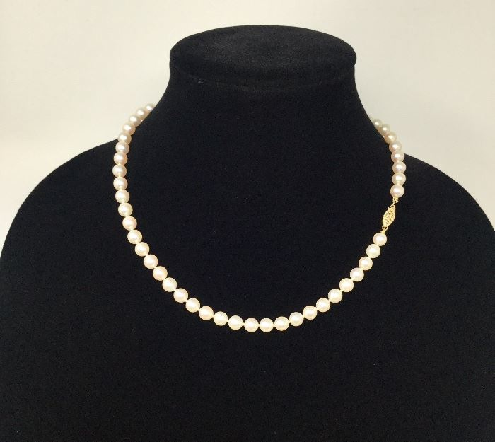VINTAGE PEARLS WITH 14K GOLD CLASP