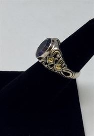 18K GOLD AND STERLING RING