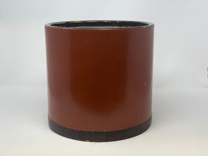CHINESE MID CENTURY RED LAQUER WOOD PLANTER