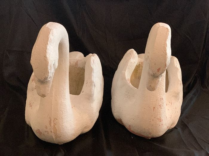 PAIR OF VINTAGE CEMENT SWAN PLANTERS