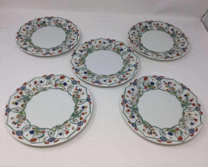 SET OF 5 RAYNARD LIMOGES HAND PAINTED PLATES