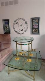2 high quality glass top tables.  Very Boho.