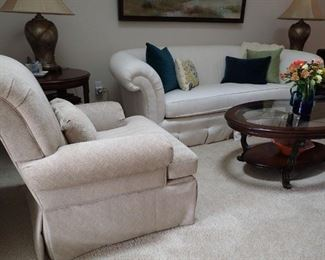 CURVED BACK SIDE CHAIRS - COFFEE TABLE - FLAIR ARMED SOFA - SQUARE END TABLE