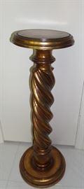 gold leaf wood pedestal
