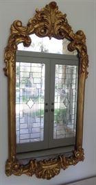 gold leaf ornate wood mirror