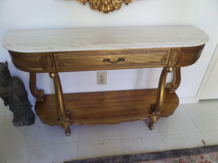 Weiman gold wood marble top table