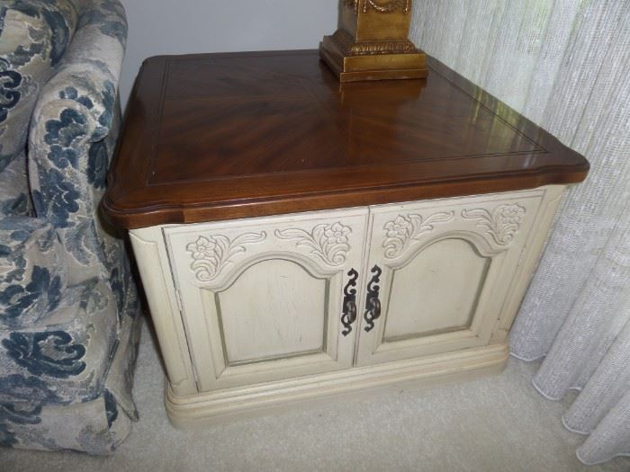 pair of solid wood painted end tables
