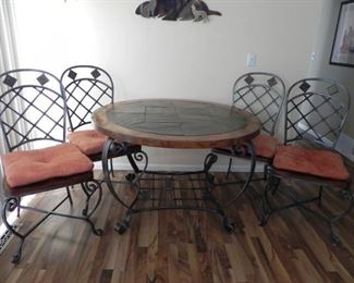 SLATE /WOOD & IRON TABLE AND 4 CHAIRS VERY HEAVY DUTY