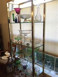 Glassware, Brass and Glass Display Cabinet