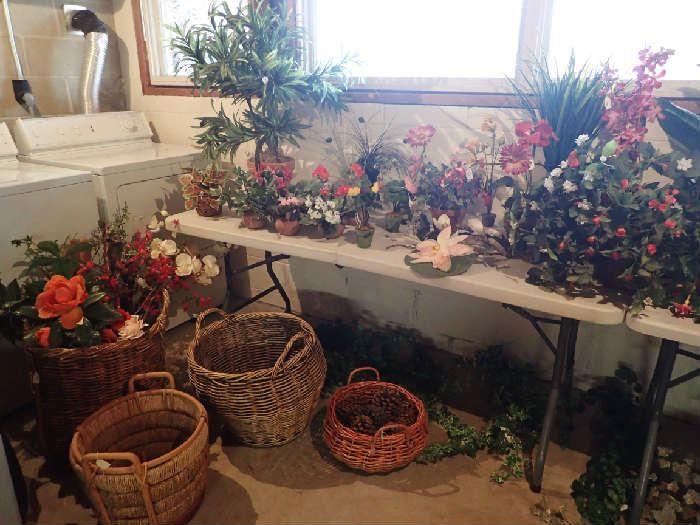 Beautiful Artificial Plants. Assortment of Baskets.