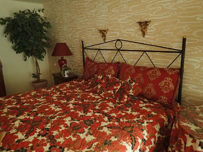 Wolf King Size Bed with Custom Bedding.