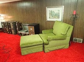 Excellent Condition Chair/Ottoman on Castors.