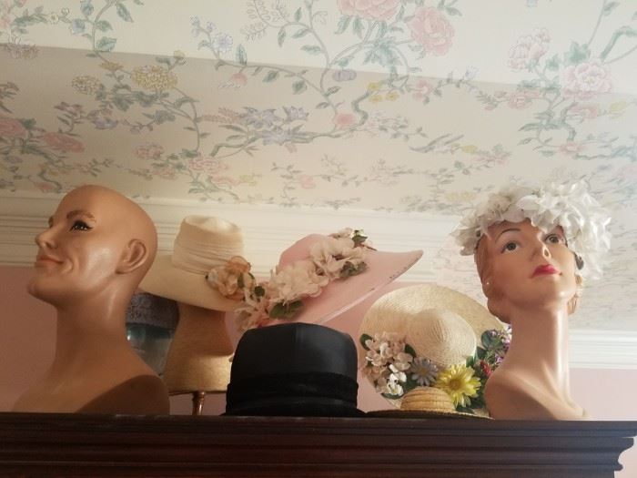 Vintage mannequin heads and hats