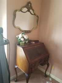 Very nice drop front desk and french mirror