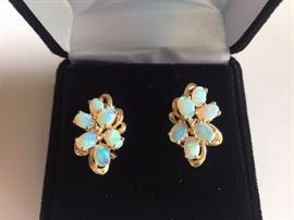 14K and Opal Earrings