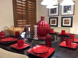 Bistro Style Dining Set with Red Chinese Dinnerware