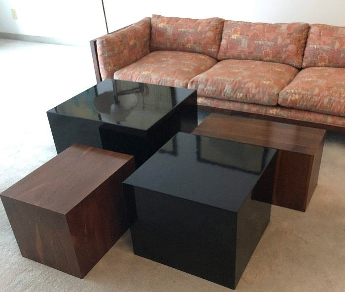 Cube Tables: Two Black Remain; Rosewood Have SOLD, Sofa SOLD