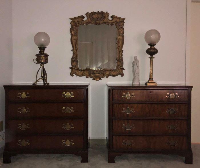 Kittinger Mahogany Chests, Gilt Mirror, Banquet & Art  Nouveau Converted Brass Gas Lamps