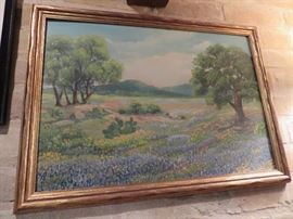 BEAUTIFUL ORIGINAL TEXAS BLUEBONNET OIL PAINTING WITH PARTIAL INSCRIPTION ON REVERSE