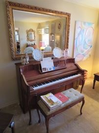UPRIGHT KIMBALL PIANO AND GREAT ACCESSORIES AND MIRRORS AT THIS SALE