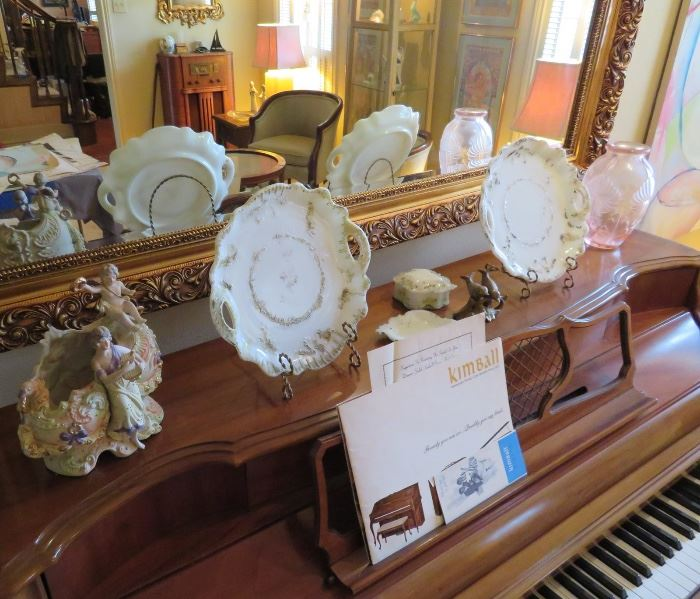 MILK GLASS, GERMAN BISQUE PORCELAIN FIGURES AND ART GLASS - WE HAVE IT ALL!